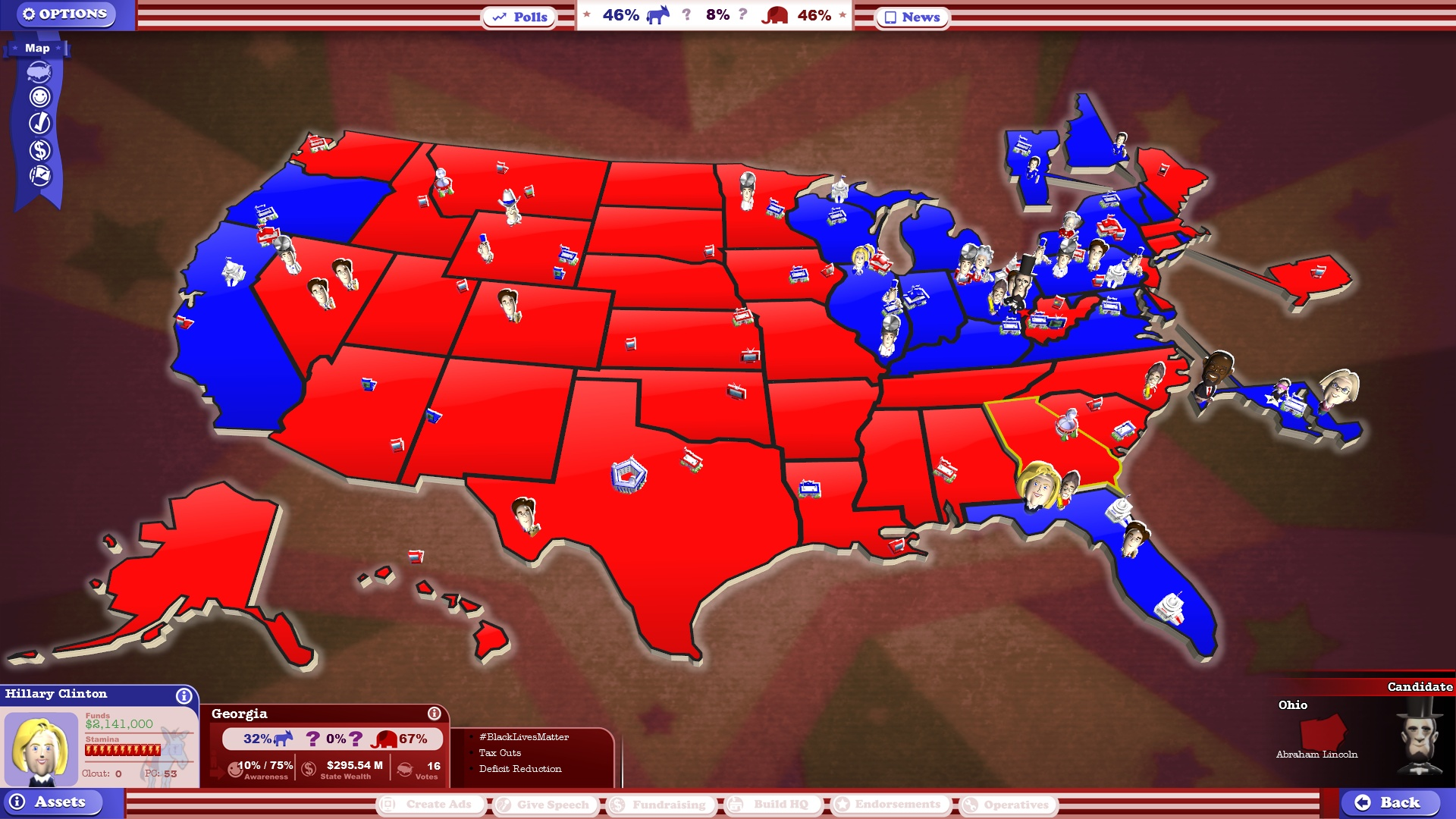 The Political Machine - Us political party map 2016